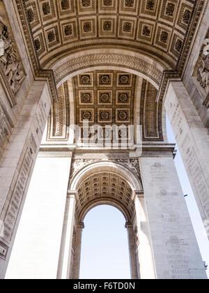Under the Arch. The detailed decorative work under the Arc de Triomphe in Paris.