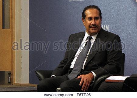 London, United Kingdom. 19th Nov, 2015. Former Qatari prime minister Sheikh Hamad bin Jassim (HBJ) criticised the - Stock Photo