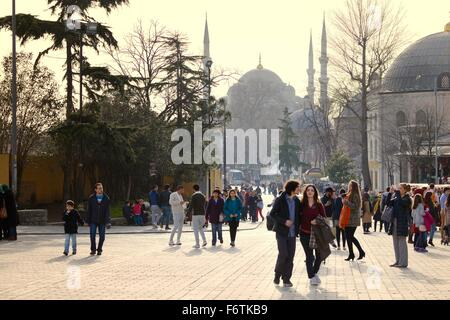 Sultan Ahmed Mosque aka The Blue Mosque aka Sultan Ahmet Mosque. Sultan Ahmet Square, Istanbul, Turkey. Seen from - Stock Photo