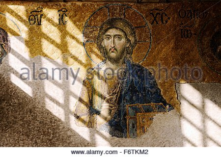 Hagia Sophia, Istanbul. The Deesis mosaic dates from 1261. Central figure of Christ. Imperial enclosure in the upper - Stock Photo