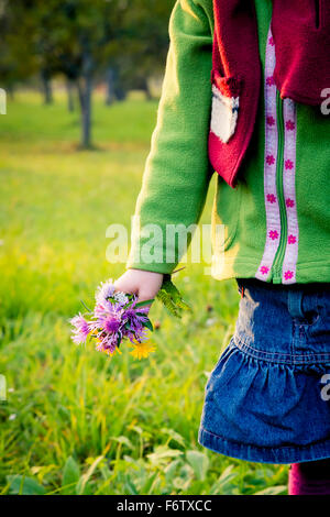 Germany, Baden-Wuerttemberg, little girl with picked flowers on a meadow, close-up - Stock Photo