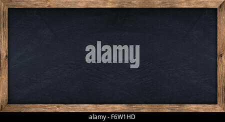 wide blackboard with wooden frame - Stock Photo