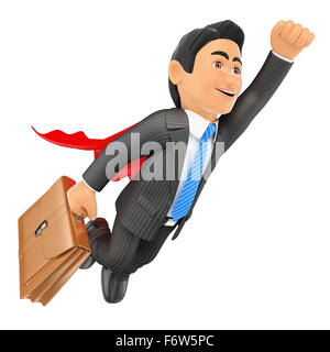 3d business people. Super businessman flying with cape and briefcase. Isolated white background. - Stock Photo