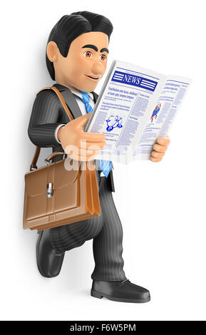 3d business people. Businessman reading the latest news in the newspaper. Isolated white background. - Stock Photo