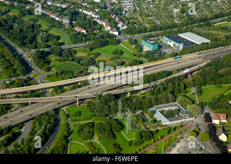 Motorway section between the Leverkusen Cross and the motorway bridge over the Rhine River of the A1, Rhineland, - Stock Photo