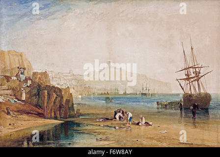 Joseph Mallord William Turner - Scarborough Town and Castle. Morning. Boys Catching Crabs - Stock Photo
