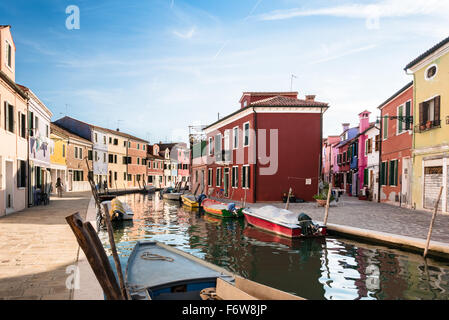BURANO, ITALY CIRCA SEPTEMBER 2015: Burano is an island in the Venice lagoon known for its typical brightly colored - Stock Photo