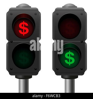 Dollar signs as traffic lights, as a symbol for profit and loss or other business issues. - Stock Photo