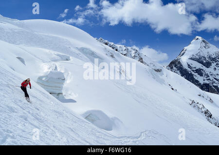 Female backcountry skier downhill skiing in front of Koenigspitze, Monte Cevedale, Ortler range, South Tyrol, Italy - Stock Photo