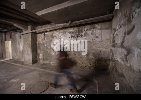 A man walks through the newly opened Holocaust   Memorial site in the cellar of the European Central Bank in Frankfurt, - Stock Photo