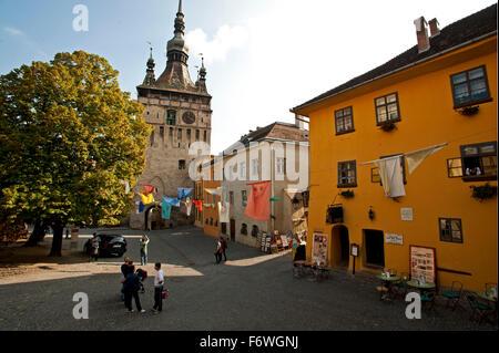 Clock tower in the historic centre, Sighisoara, Transylvania,Romania - Stock Photo