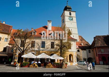 Piata Huet in the historic part of town, Sibiu, Transylvania, Romania - Stock Photo