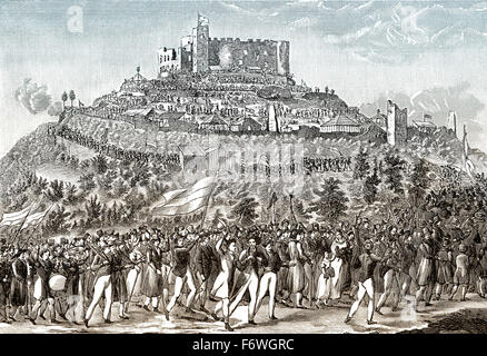 Procession to Hambach Castle, 1832, The Hambacher Fest was a German national democratic festival, - Stock Photo