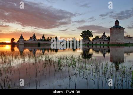 Sunset near the Kirillo-Belozersky monastery, Kirillov, Vologda region, Russia - Stock Photo