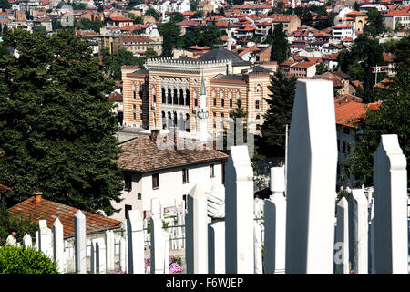 National Library of Bosnia and Herzegovina seen from Alifakovac. - Stock Photo