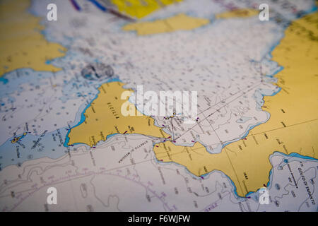 Sea chart of Sicily and Aeolian Islands aboard the sailing cruise ship Royal Clipper  Star Clippers Cruises , Mediterranean - Stock Photo