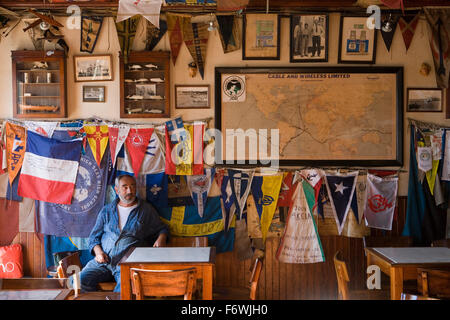 Interior of Peter Cafe Sport, a legendary yacht crew bar in the middle of the Atlantic Ocean, Horta, Faial Island, - Stock Photo