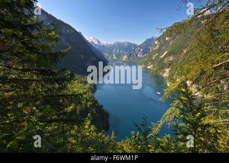 View over Koenigssee, Berchtesgaden region, Berchtesgaden National Park, Upper Bavaria, Germany - Stock Photo
