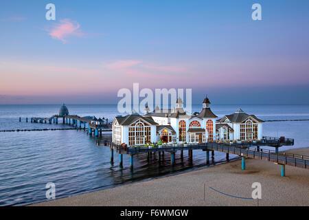 Sellin pier at dusk, Sellin, Ruegen island, Baltic Sea, Mecklenburg Western-Pomerania, Germany - Stock Photo