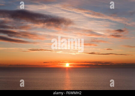 Sunrise at sea, Jasmund National Park, Ruegen island, Baltic Sea, Mecklenburg Western-Pomerania, Germany - Stock Photo