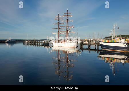 Sailing ship in the harbour, Sassnitz, Ruegen island, Baltic Sea, Mecklenburg Western-Pomerania, Germany