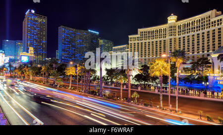 View of the Las Vegas Strip at night - Stock Photo