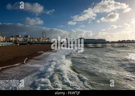 Stormy waters: Brighton Pier, Sussex - Stock Photo