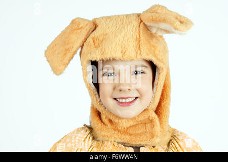 Cute little girl in dog hat costume ,Halloween concept - Stock Photo