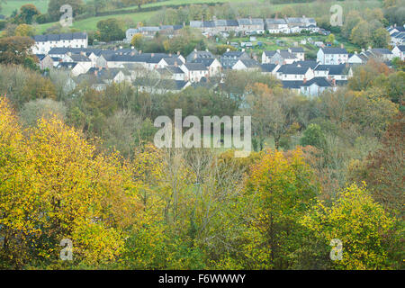 A new housing estate build in a rural area - Stock Photo