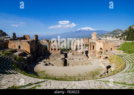 Ancient Greek theater of Taormina, Sicily, Italy - Stock Photo