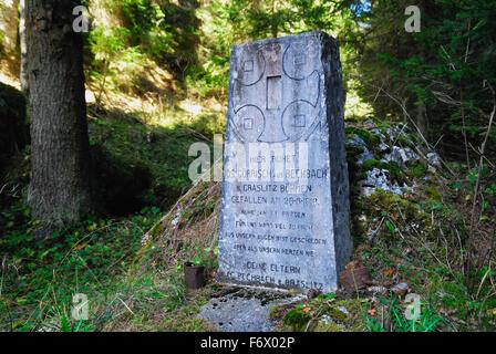 Asiago plateau, Veneto, Italy, WWI the grave of an Austro-Hungarian soldier in Val Galmarara. - Stock Photo