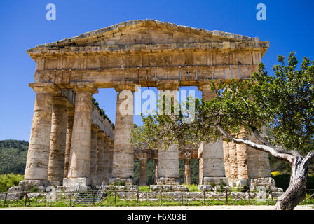Ancient Greek Temple of Segesta, Sicily, Italy - Stock Photo