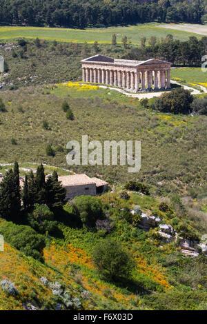 Temple of Segesta in a mediterranean hillscape, Sicily, Italy - Stock Photo