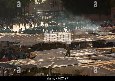 Roofs of market stands on the square Jamaa el Fna in Marrakesh - Stock Photo