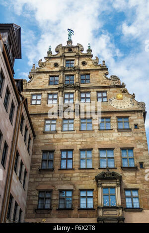 The 1596, late Renaissance building of the Stadtmuseum Fembohaus in Nuremberg, Germany. City Museum. - Stock Photo