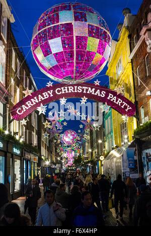 Carnaby Street Christmas lights - Stock Photo