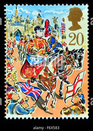 Postage stamp. Great Britain. Queen Elizabeth II. 1989. Lord Mayor's Show, London. Blues and Royals Drum Horse. - Stock Photo