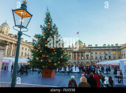Somerset House Ice Rink at Xmas time - Stock Photo