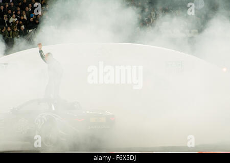 London, UK. 20th Nov, 2015. Stunt Driver Terry Grant during ROC Nations Cup at The Stadium at Queen Elizabeth Olympic - Stock Photo