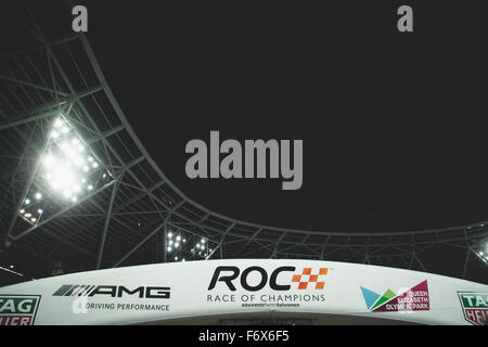 London, UK. 20th Nov, 2015. General picture of The Stadium and Race of Champions logo is seen during The Race of - Stock Photo