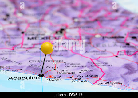 Acapulco pinned on a map of Mexico - Stock Photo