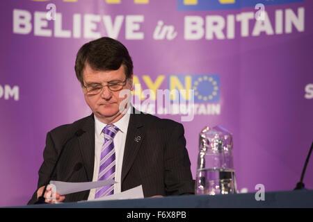 London, UK. 20 November 2015. Gerard Batten MEP.  Nigel Farage MEP, leader of the UK Independence Party (UKIP), - Stock Photo