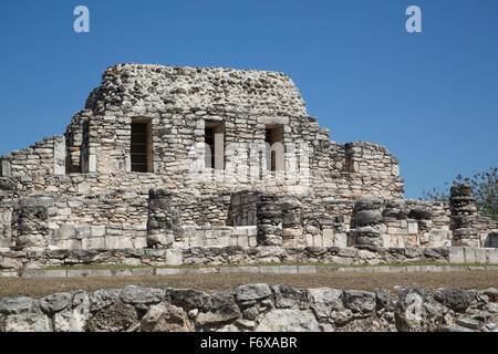 Templo de los Guerreros, Mayapan Mayan archaeological site; Yucatan, Mexico - Stock Photo