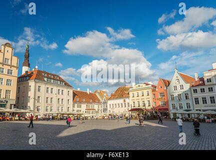main square of tallinn old town in estonia - Stock Photo