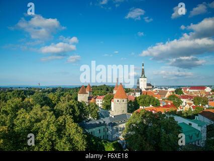 view of tallinn old town in estonia - Stock Photo