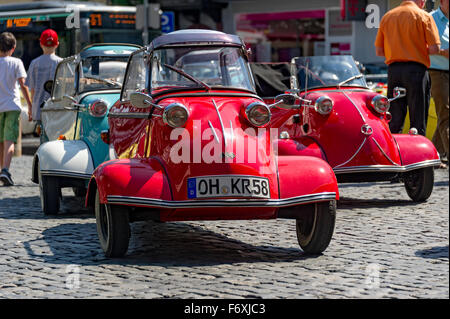 Oldtimer meeting, Vintage Messerschmitt cabin scooter FMR, model variants of the KR 200, built in 1955-1964, market - Stock Photo