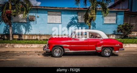 Classic American Chevrolet on a Street in Havana, Cuba - Stock Photo