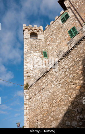 Ancient wall and tower in Montecchio, Terni, Umbria, Italy - Stock Photo