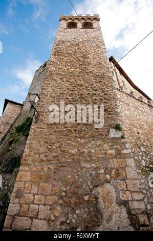 Ancient tower in the village of Montecchio, Terni, Umbria, Italy - Stock Photo