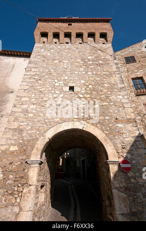 Ancient tower and gate in the village of Montecchio, Terni, Umbria, Italy - Stock Photo